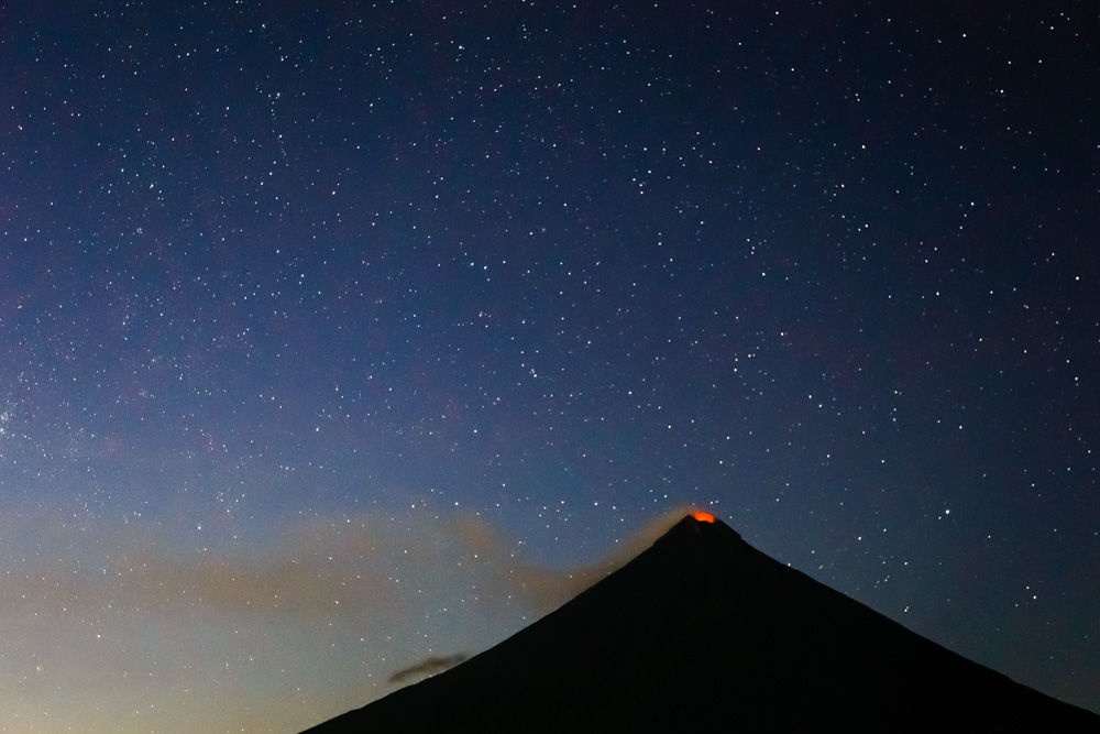 The glowing crater of Mayon volcano in the Philippines.